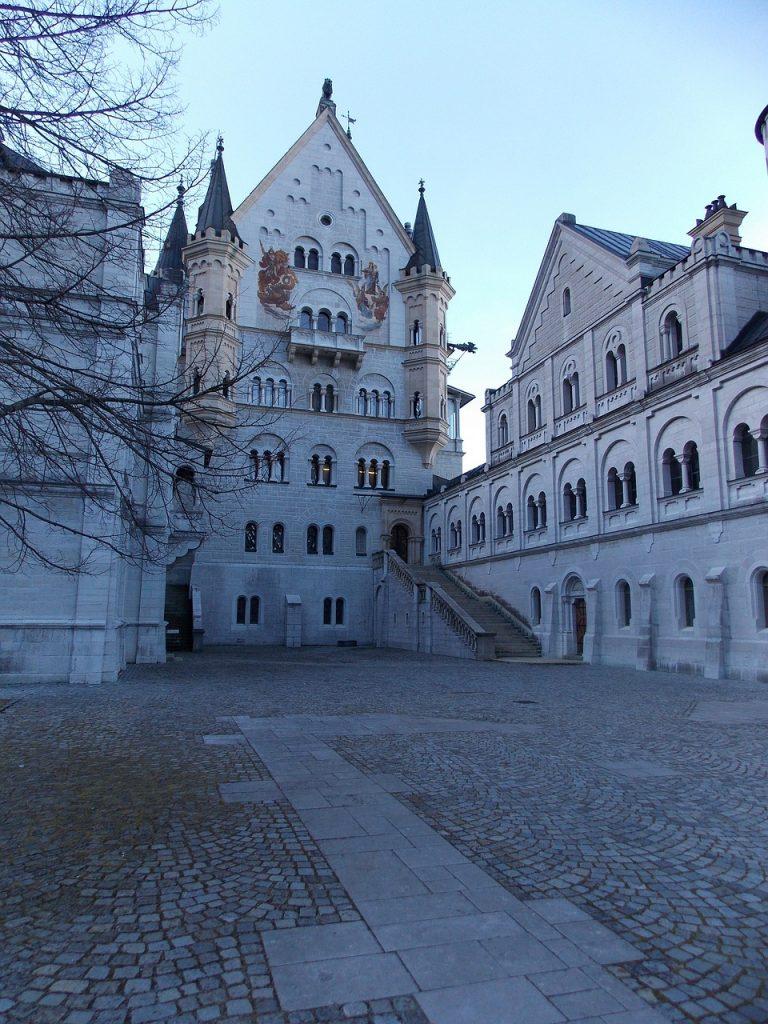 Inside Neuschwanstein Castle courtyard