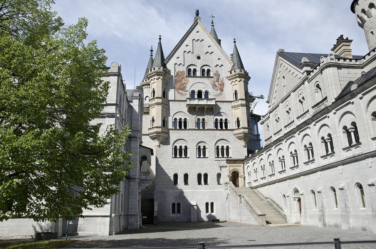 Neuschwanstein Castle inside courtyard